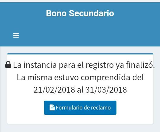 Inscripci N Finalizada Bono 2018 Secundaria Y Cct