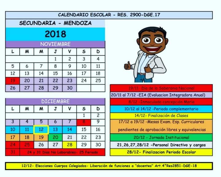 calendario mike nov y dic